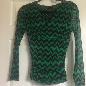 INC blouse/top green/black chevron size small